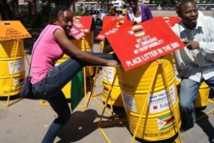 The Bin-it project was simply too much fun! This was at the Bulawayo City Hall